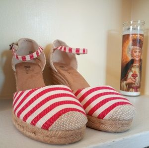 White Mountain Stripe Kate Espadrille Wedges